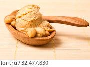 Eine selbstgemachte Kugel Erdnusseis oder Erdnussbuttereis mit Erdnüssen. Стоковое фото, фотограф Zoonar.com/Robert Kneschke / age Fotostock / Фотобанк Лори