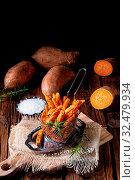 Купить «Crispy sweet potato fries from the oven», фото № 32479934, снято 26 мая 2020 г. (c) easy Fotostock / Фотобанк Лори