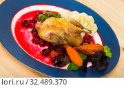 Купить «Fried quail with cranberry sauce and caramelized carrots, served with vegetables», фото № 32489370, снято 7 июля 2020 г. (c) Яков Филимонов / Фотобанк Лори