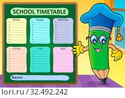 Weekly school timetable template 2 - picture illustration. Стоковое фото, фотограф Zoonar.com/Klara Viskova / easy Fotostock / Фотобанк Лори