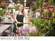 Купить «Flower market. Seller delivers potted flowers on a pushcart», фото № 32500362, снято 20 мая 2019 г. (c) Яков Филимонов / Фотобанк Лори