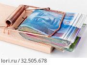 Viele Schweizer Franken Geldscheine in Mausefalle. Стоковое фото, фотограф Zoonar.com/Erwin Wodicka / age Fotostock / Фотобанк Лори