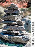 Aufeinander gestapelte Steine, Symbol für Wandern, Markierung, Orientierung. Стоковое фото, фотограф Zoonar.com/Erwin Wodicka / age Fotostock / Фотобанк Лори