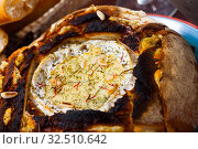 Купить «Cheese fondue from camembert in bread bowl», фото № 32510642, снято 15 июля 2020 г. (c) Яков Филимонов / Фотобанк Лори