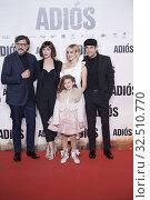 Mario Casas, Natalia de Molina, Ruth Diaz, Carlos Bardem attends 'Adios' premiere at Capitol Cinema on November 19, 2019 in Madrid, Spain. Редакционное фото, фотограф Manuel Cedron / age Fotostock / Фотобанк Лори