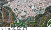 Купить «Aerial view of Pamplona medieval town with fortification in Navarre, Spain», видеоролик № 32527278, снято 23 декабря 2018 г. (c) Яков Филимонов / Фотобанк Лори