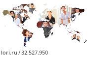 Viele lächelnde internationale Service Leute auf einer Weltkarte der Erde. Стоковое фото, фотограф Zoonar.com/Robert Kneschke / age Fotostock / Фотобанк Лори