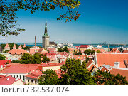 Old buildings at the Old Town, harbor and downtown in Tallinn, Estonia, viewed from above on a sunny day in the summe. Редакционное фото, фотограф Николай Коржов / Фотобанк Лори