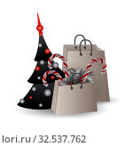 Festive composition with Christmas tree and gift bags with branches and candyes on a white background. Стоковая иллюстрация, иллюстратор Helen Burceva / Фотобанк Лори