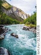 Купить «Behemoth River Rapid on the Chuya River, Mountain Altai, Russia», фото № 32538018, снято 13 сентября 2019 г. (c) Вадим Орлов / Фотобанк Лори