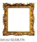 Купить «Деревянная старинная рамка изолировано на белом фоне», фото № 32538174, снято 24 августа 2019 г. (c) Наталья Волкова / Фотобанк Лори
