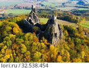 Купить «Above view of medieval castle Trosky. Czech Republic», фото № 32538454, снято 18 октября 2019 г. (c) Яков Филимонов / Фотобанк Лори