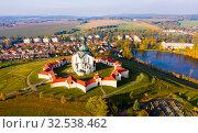 Купить «Top view of the church St. John of Nepomuk. Zdar nad Sazavou. Czech republic», фото № 32538462, снято 15 октября 2019 г. (c) Яков Филимонов / Фотобанк Лори