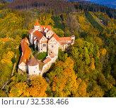 Купить «Pernstejn castle, Nedvedice, Czech Republic», фото № 32538466, снято 15 октября 2019 г. (c) Яков Филимонов / Фотобанк Лори