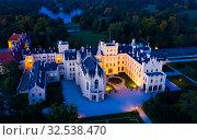 Купить «Panoramic view of medieval castle Lednice. Czech Republic», фото № 32538470, снято 15 октября 2019 г. (c) Яков Филимонов / Фотобанк Лори