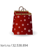 Party festive gift bag of red paper with golden ribbon decorated with a winter pattern of snowflakes isolated on a white background. Стоковая иллюстрация, иллюстратор Helen Burceva / Фотобанк Лори