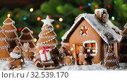 Gingerbread house and trees. Стоковое видео, видеограф Иван Михайлов / Фотобанк Лори