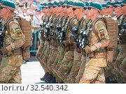 Купить «KIEV, UKRAINE - AUGUST 24, 2018: Military parade in Kiev, dedicated to the Independence Day of Ukraine, 27th anniversary. Rows of marching military troops on Khreshchatyk street», фото № 32540342, снято 24 августа 2018 г. (c) age Fotostock / Фотобанк Лори