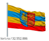Siedlce City Flag On Flagpole, Country Poland, Isolated On White Background. Стоковое фото, фотограф Zoonar.com/Igor Lubnevskiy / easy Fotostock / Фотобанк Лори