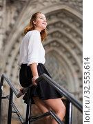 Купить «young female on handrail and the stone stairs», фото № 32553614, снято 15 декабря 2019 г. (c) Яков Филимонов / Фотобанк Лори