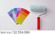 Купить «paint roller and color palette on white background», видеоролик № 32554086, снято 28 ноября 2019 г. (c) Syda Productions / Фотобанк Лори