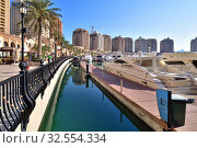 Купить «Doha, Qatar - Nov 23. 2019. Marina on the Pearl Island», фото № 32554334, снято 23 ноября 2019 г. (c) Володина Ольга / Фотобанк Лори