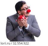 Купить «Funny clown businessman with a piggy bank isolated on white back», фото № 32554922, снято 9 мая 2017 г. (c) Elnur / Фотобанк Лори