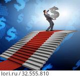 Купить «Young businessman climbing stairs and red carpet», фото № 32555810, снято 29 февраля 2020 г. (c) Elnur / Фотобанк Лори