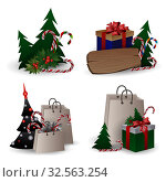 Set of festive composition with Christmas tree branches in a gift bag and boxes with bows on a white background. Стоковая иллюстрация, иллюстратор Helen Burceva / Фотобанк Лори