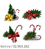 Set of festive composition with Christmas tree branches with bows on a white background. Стоковая иллюстрация, иллюстратор Helen Burceva / Фотобанк Лори