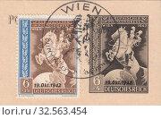 Купить «Почтовый форейтор трубит в рожок над земным шаром.Европейский почтовый конгресс держав Оси в Вене. Почтовая марка Австрии 1942 года», иллюстрация № 32563454 (c) александр афанасьев / Фотобанк Лори