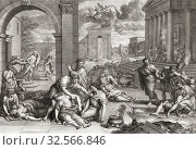 Купить «The Plague. The Black Death. Imaginary city ravaged by the disease. After an 17th century engraving by Gerard Audran based on an earlier work by Pierre Mignard.», фото № 32566846, снято 7 июля 2019 г. (c) age Fotostock / Фотобанк Лори