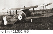 The Sopwith 7F. 1 Snipe British single-seat biplane fighter of the Royal Air Force, RAF, during World War One. From The Pageant of the Century, published 1934. Редакционное фото, фотограф Classic Vision / age Fotostock / Фотобанк Лори