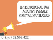 Купить «Conceptual hand writing showing International Day Against Female Genital Mutilation. Business photo showcasing awareness day February Man holding megaphone speech bubble message speaking loud», фото № 32568422, снято 31 мая 2020 г. (c) easy Fotostock / Фотобанк Лори