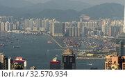 Купить «Hong Kong cargo port view from the peak, timelapse», видеоролик № 32570934, снято 8 ноября 2019 г. (c) Игорь Жоров / Фотобанк Лори