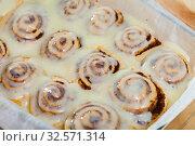 Купить «Vegan cinnabon rolls with topping», фото № 32571314, снято 14 декабря 2019 г. (c) Яков Филимонов / Фотобанк Лори