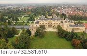 Купить «Panoramic view of medieval castle Lednice. Czech Republic», видеоролик № 32581610, снято 16 октября 2019 г. (c) Яков Филимонов / Фотобанк Лори