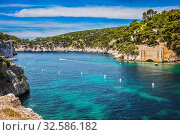 Купить «Provence, France, spring. Abrupt stony coast and turquoise sea surface. Famous National Park Calanques on the Mediterranean coast», фото № 32586182, снято 12 декабря 2019 г. (c) easy Fotostock / Фотобанк Лори