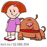 Cartoon Illustration of Cute Girl with Funny Dog. Стоковое фото, фотограф Zoonar.com/Igor Zakowski / easy Fotostock / Фотобанк Лори