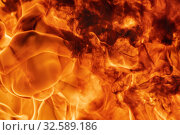 Купить «Flames red fire natural background. Beautiful dangerous firestorm abstract texture. Motion blur from fire, high temperature from flames.», фото № 32589186, снято 7 августа 2019 г. (c) А. А. Пирагис / Фотобанк Лори