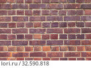 Купить «Old red brick wall, detailed grungy background texture», фото № 32590818, снято 24 апреля 2019 г. (c) EugeneSergeev / Фотобанк Лори