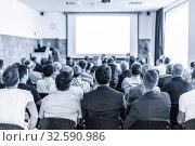 Купить «Business speaker giving a talk at business conference event.», фото № 32590986, снято 30 сентября 2019 г. (c) Matej Kastelic / Фотобанк Лори