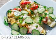 Купить «Stuffed zucchini with couscous and mozzarella», фото № 32606006, снято 4 апреля 2020 г. (c) age Fotostock / Фотобанк Лори