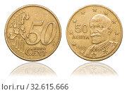 Купить «Монета 50 евро цента. Portrait Eleftherios Venizelos. Греция», фото № 32615666, снято 22 января 2016 г. (c) Евгений Ткачёв / Фотобанк Лори