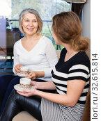 Купить «Two women talking at home», фото № 32615814, снято 2 марта 2019 г. (c) Яков Филимонов / Фотобанк Лори