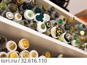 Купить «Buttons on needlework store shelves in Barcelona», фото № 32616110, снято 18 октября 2019 г. (c) Яков Филимонов / Фотобанк Лори