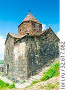 Stone old Armenian Orthodox temple Sevanavank on a hill near Lake Sevan (2018 год). Стоковое фото, фотограф Константин Лабунский / Фотобанк Лори