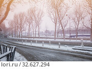 Купить «Avenue de New York in Paris under snow winter», фото № 32627294, снято 7 февраля 2018 г. (c) Сергей Новиков / Фотобанк Лори
