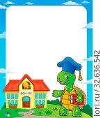 Turtle teacher theme frame 1 - picture illustration. Стоковое фото, фотограф Zoonar.com/Klara Viskova / easy Fotostock / Фотобанк Лори