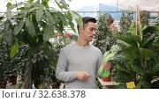 Купить «Portrait of joyful young man florist showing plants in his greenhouse», видеоролик № 32638378, снято 8 ноября 2019 г. (c) Яков Филимонов / Фотобанк Лори